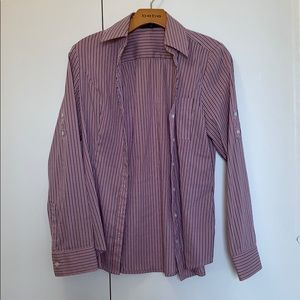 Express pink striped button down